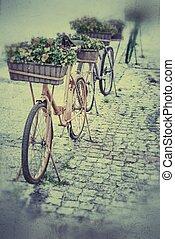 スタイル, 花,  bicycles, レトロ