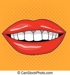 スタイル, 芸術, 女性, ポンとはじけなさい, 唇, レトロ, かなり, 微笑