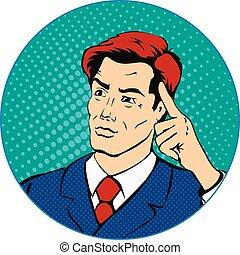 スタイル, 芸術, 考え, ポンとはじけなさい, レトロ, ビジネスマン