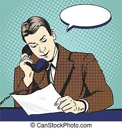 スタイル, 芸術, 電話, イラスト, 話し, ベクトル, ポンとはじけなさい, ビジネスマン, 漫画, 読書, documents., レトロ