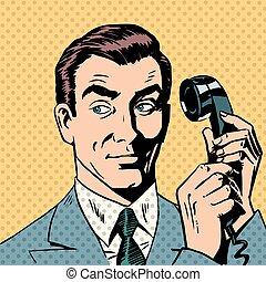 スタイル, 芸術, 電話, ポンとはじけなさい, 話し, レトロ, ビジネスマン, マレ