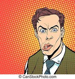 スタイル, 芸術, illustration., 人々, face., ポンとはじけなさい, halftone, バックグラウンド。, businessman., 驚かされる, 肖像画, 人, style., おびえさせている, man., レトロ