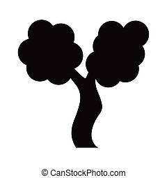 スタイル, 葉が多い, アイコン, シルエット, 木