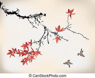 スタイル, 葉, かえで, インク