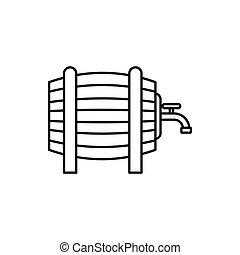 スタイル, 蛇口, アウトライン, 木製である, アイコン, 樽