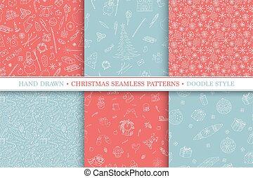 スタイル, 要素, いたずら書き, patterns., seamless, コレクション, 手, ベクトル, 背景, witner, 引かれる, 休日, クリスマス