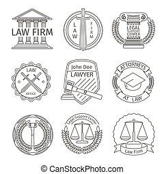 スタイル, 要素, 法的, ロゴ, 線, 司法上