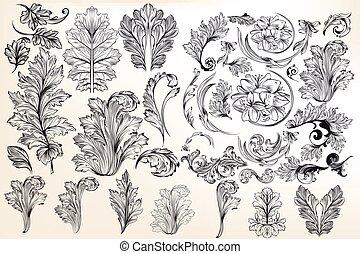 スタイル, 要素, 装飾用である, 花, コレクション, ベクトル, 型