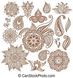 スタイル, 要素, indian, 抽象的, henna, ベクトル, 花, mehndi., 入れ墨