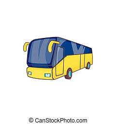 スタイル, 観光客, バス, 黄色, アイコン, 漫画