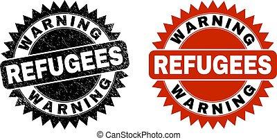 スタイル, 警告, ロゼット, 黒, refugees, 傷付けられる, 切手