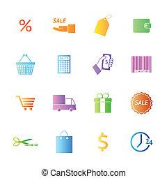 スタイル, 買い物, カラフルである, アイコン, set., ベクトル
