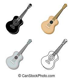 スタイル, 道具, シンボル, 隔離された, イラスト, 漫画, ギター, バックグラウンド。, ベクトル, 音響, 白, アイコン, ミュージカル, 株