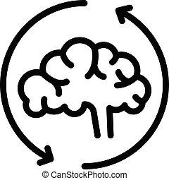 スタイル, 適応, アウトライン, 脳, アイコン