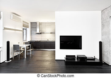 スタイル, 部屋, 現代, minimalism, 調子, 内部, モノクローム, 図画, 台所