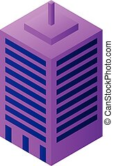 スタイル, 都市, アイコン, 建物, 等大, 現代