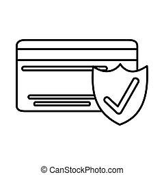 スタイル, 銀行, アイコン, クレジット, インターネット商業, 線, マーケティング, 印, 点検, モビール, カード