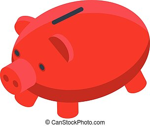 スタイル, 銀行, アイコン, 等大, 定期受信契約, 小豚