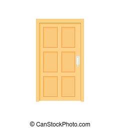 スタイル, 閉じられた, 木製の戸, 漫画, アイコン