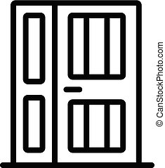 スタイル, 閉じられた, 玄関, アイコン, アウトライン