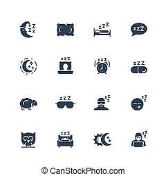 スタイル, 関係した, セット, ベクトル, glyph, アイコン, 睡眠