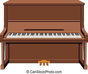 スタイル, 隔離された, イラスト, 漫画, ベクトル, 背景, 垂直部分, 白, ピアノ
