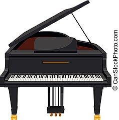 スタイル, 隔離された, イラスト, 漫画, ベクトル, 背景, 壮大, 白, ピアノ