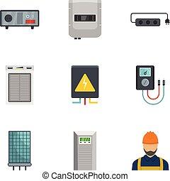 スタイル, 電気技師, アイコン, セット, 家, 漫画