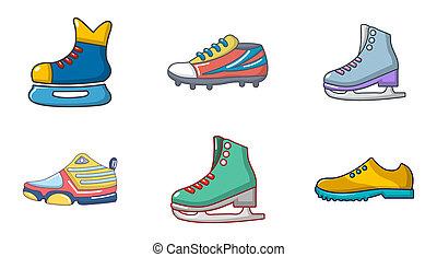 スタイル, 靴, セット, スポーツ, 漫画, アイコン