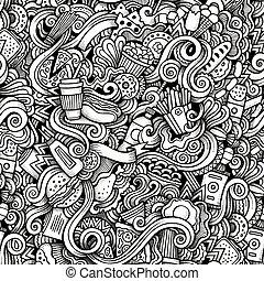スタイル, 食物, 速い, hand-drawn, doodles, 漫画, 主題