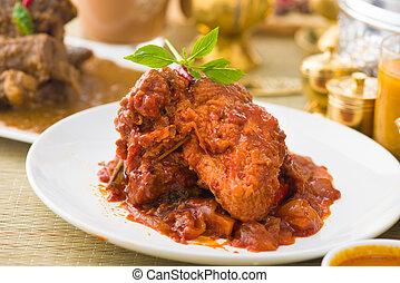 スタイル, 鶏, ぴりっとする, rendang, 料理された, カレー, indian, チリ, ソース