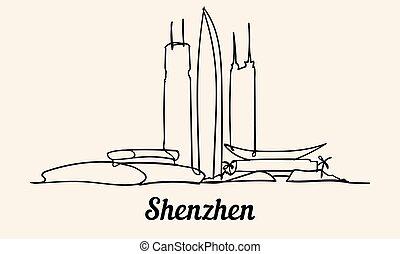 スタイル, 1(人・つ), shenzhen, ベクトル, スケッチ, 線, illustration.