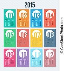 スタイル, 2015, calendar., ベクトル, 平ら, illustration., 年
