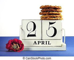 スタイル, anzac, ぼろぼろ, 25, 型, 伝統的である, 4 月, 日, ブロック, 背景, シック, 記憶, ケシ, 白, ビスケット, カレンダー, 赤