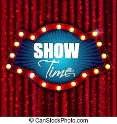 スタイル, banner., ライト, 印。, ショー, time., ベクトル, レトロ, 型, illust