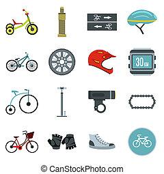 スタイル, biking, セット, アイコン, 平ら
