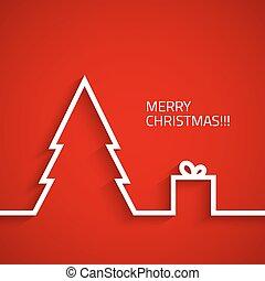 スタイル, christmass, 木, 背景, クリスマスの ギフト, 箱, 平ら