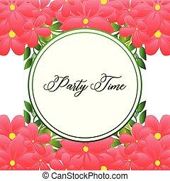 スタイル, frame., スペース, 花輪, テキスト, 時間, 優雅である, 明るい, ベクトル, 様々, パーティー, カード