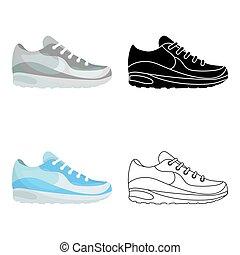 スタイル, illustration., アイコン, シンボル, 隔離された, バックグラウンド。, ベクトル, スニーカー, 白, 株, 漫画, 靴