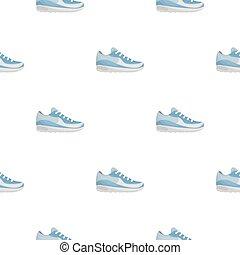 スタイル, illustration., アイコン, パターン, 隔離された, バックグラウンド。, ベクトル, スニーカー, 白, 株, 漫画, 靴
