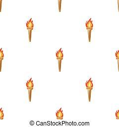 スタイル, illustration., シンボル, トーチ, オリンピック, 隔離された, バックグラウンド。, ベクトル, ギリシャ, 白, アイコン, 漫画, 株