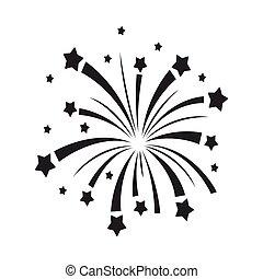 スタイル, illustration., シンボル, 花火, 隔離された, 愛国者, バックグラウンド。, ベクトル, 黒, 愛国心が強い, 白, アイコン, 日, 株