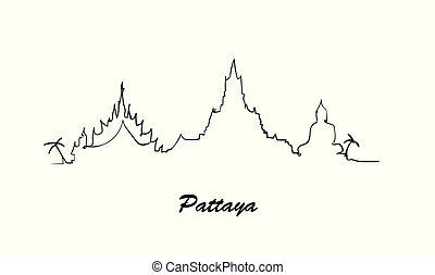 スタイル, illustration., スケッチ, 1(人・つ), 引かれる, 線, pattaya