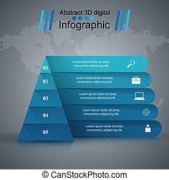 スタイル, illustration., ビジネス, ベクトル, infographics, origami