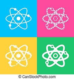 スタイル, illustration., 色, 印, 4, squares., 原子, アイコン