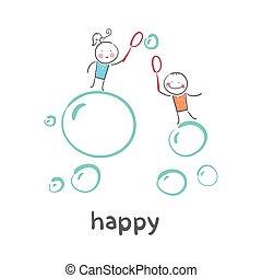 スタイル, illustration., happy., 状態, 楽しみ, life., 漫画