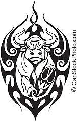 スタイル, image., 種族, -, ベクトル, 雄牛