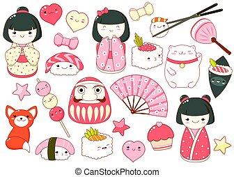 スタイル, kawaii, かわいい, アイコン, セット