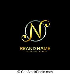 スタイル, letten, n, デザイン, ロゴ, 創造的