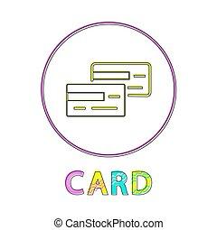 スタイル, lineout, 支払い, 枠にはめられた, 方法, カード, アイコン